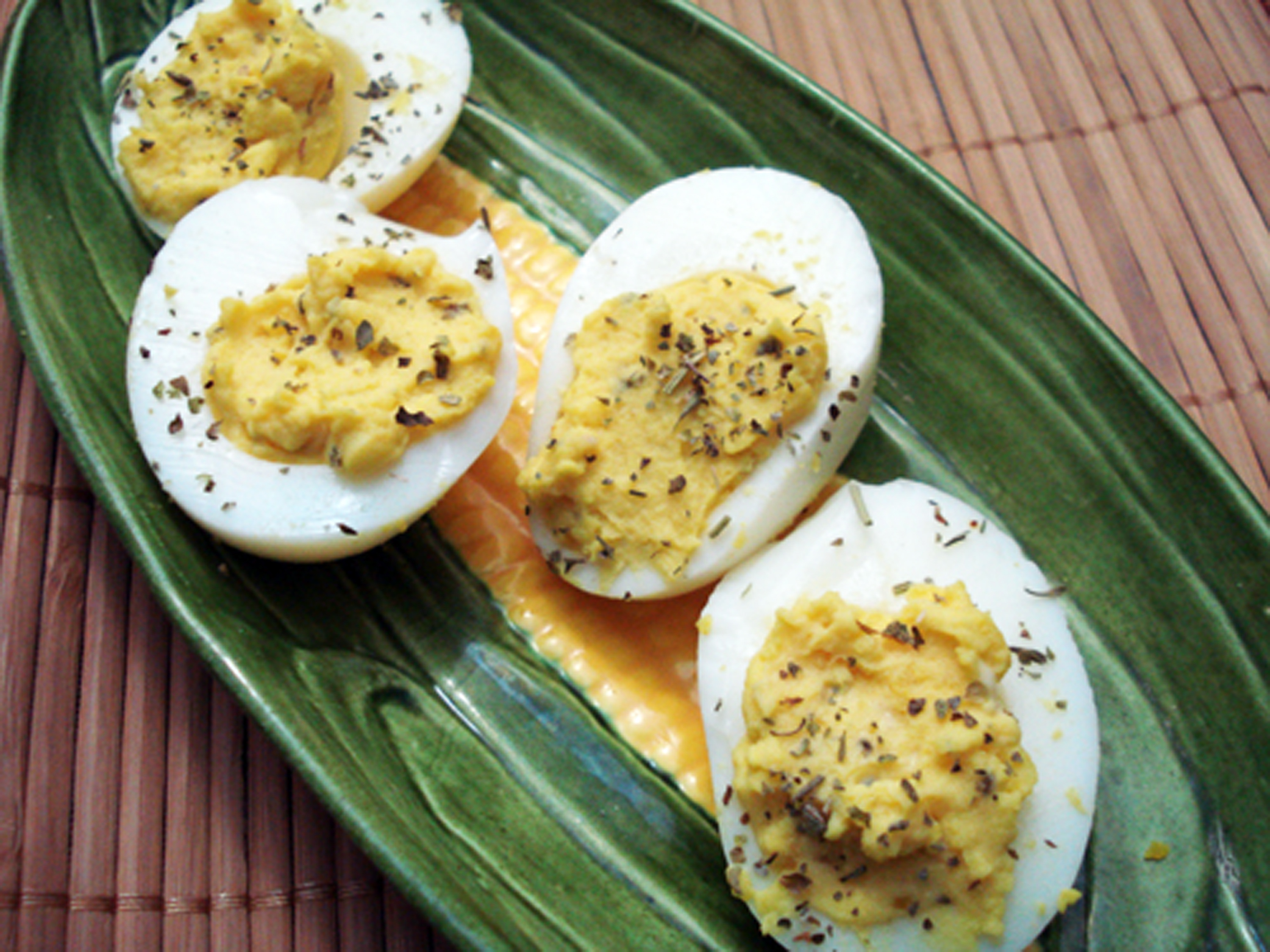 Two takes on Deviled Eggs: Chipotle Bacon and Garlic & Herb ...